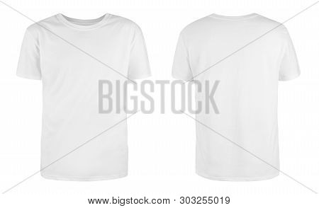 Men White Blank T-shirt Template,from Two Sides, Natural Shape On Invisible Mannequin, For Your Desi