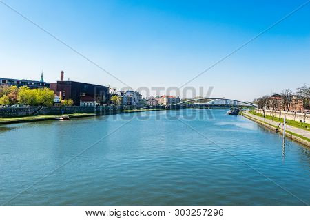 The Vistula (or Wisla) river in Krakow. The river is the longest and largest river in Poland, is the 9th-longest river in Europe