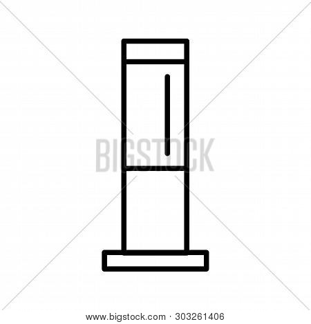 Black & White Vector Illustration Of Path Walkway Garden Lamp. Line Icon Of Outdoor Landscape Light