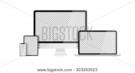 Set Of Devices On White Background. Computer Laptop Tablet And Smartphone With Empty Screens. Mock U