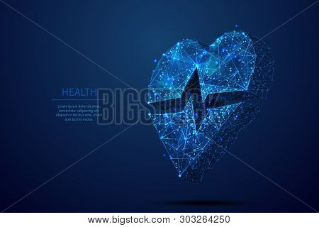 Healthcare Low Poly Wireframe Banner Template. 3d Heart Sign With Pulse Line. Polygonal Heart-shaped