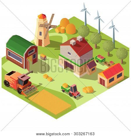 Modern Farm Or Ranch Yard With Outbuildings, Wind Turbines, Fruit Garden And Field Of Grain Corps Is
