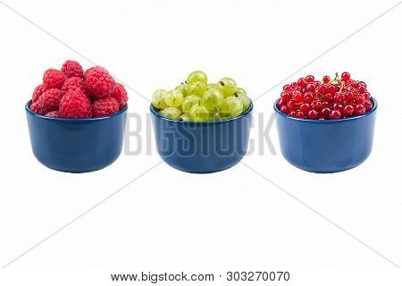 Berries On Isolated White Background, Bowl Of Currant, Gooseberries, Raspberries.
