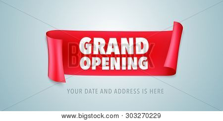 Grand Opening Vector Illustration With Wavy Ribbon. Template Design Element For Opening Ceremony Can