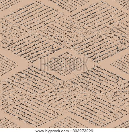 Beautiful Block Print Style Black Rhomboid Geometric Design. Seamless Vector Pattern On Eco Paper Co