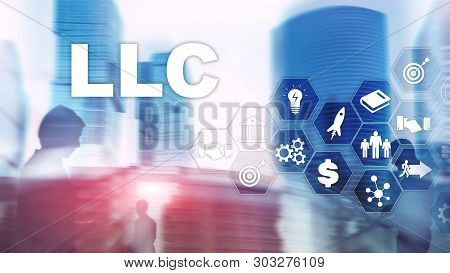 Limited Liability Company concept. Icons on virtual screen. Business Background. poster