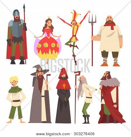 European Medieval Characters Set, Knight, Wizard, King, Princess, Peasant, Jester, People In Histori