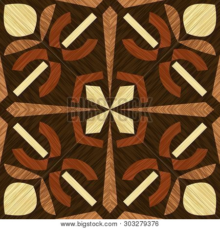 Wood Inlay Tile, Wooden Textured Patterns, Geometric Decorative Ornament In Light And Dark Types Of