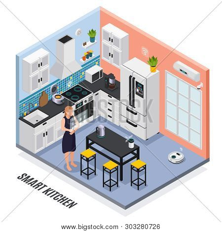Smart Kitchen Interior Iot Devices Controlled With Touch Screen Isometric Composition With Multi Coo