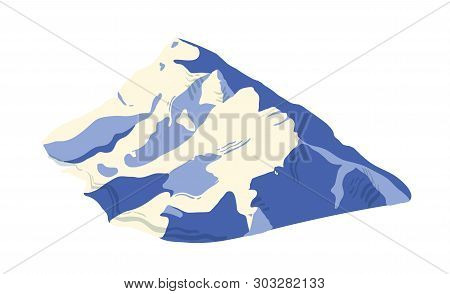 Mountain Range Covered By Ice, Snow Or Glacier Isolated On White Background. Mount For Adventure Tra