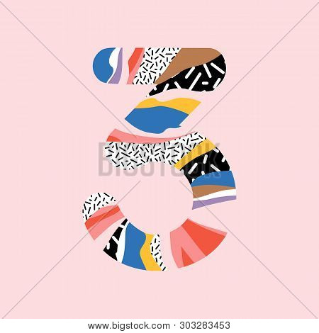 Latin Alphabet Number 3. Signs In Line Flat Style. Cute Modern Capital Numbers. Vector Trendy Flat L