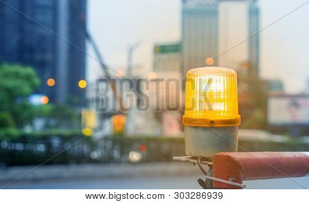 Construction Site Concept - Blurred Construction Site Area Light In Bangkok City, Thailand With Flar
