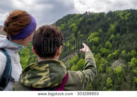 Woman And Boy Looking On Lookout Spicak, Slovakia