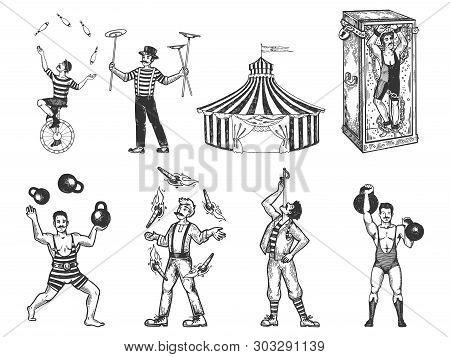 Retro Circus Performance Set Sketch Vector Illustration. Old Hand Drawn Engraving Imitation. Human A