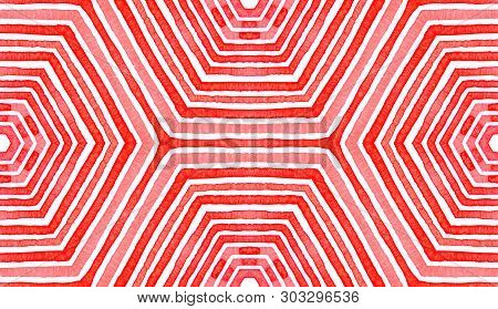 Pink Red Geometric Watercolor. Delightful Seamless Pattern. Hand Drawn Stripes. Brush Texture. Class