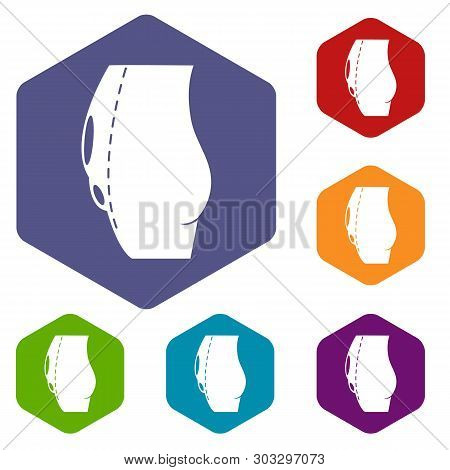 Tummy Tuck Icons Vector Colorful Hexahedron Set Collection Isolated On White