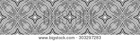 Black And White Seamless Border Scroll. Geometric Watercolor Frame. Actual Seamless Pattern. Medalli