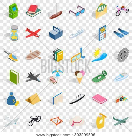 Toy For Kid Icons Set. Isometric Style Of 36 Toy For Kid Vector Icons For Web For Any Design