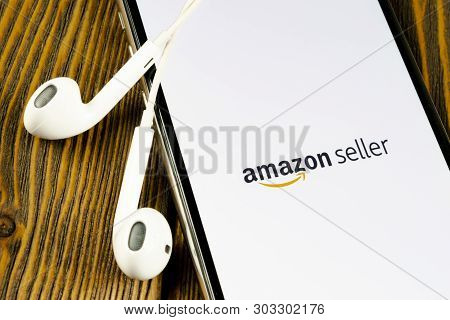 Helsinki, Finland, May 4, 2019: Amazon Seller Application Icon On Apple Iphone X Screen Close-up. Am