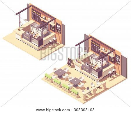 Vector Isometric Food Court Coffee Shop Or Coffeehouse Kiosk. Cafe Interior With Coffee Machines, Ta