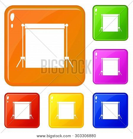 Studio Backdrop Icons Set Collection Vector 6 Color Isolated On White Background