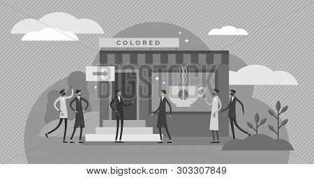 Racial Segregation Vector Illustration. Bw Flat Tiny Skin Color Diversity Persons Rejection Concept.