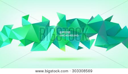 Vector Abstract Geometric 3d Shape. Triangular Facet Polygonal Banner, Poster, Background