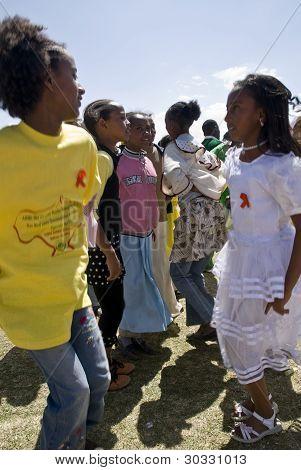 Ethiopian children dancing at the 20th World Aids da