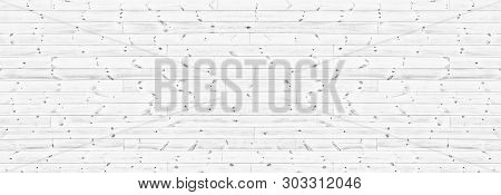 White Knotty Wooden Plank Wide Texture. Whitewashed Horizontal Wood Board Panorama. Long Panoramic R