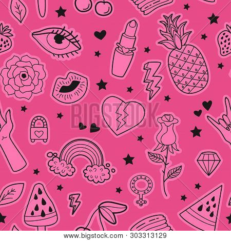 Vector Feminist Power Seamless Pattern With Icon.