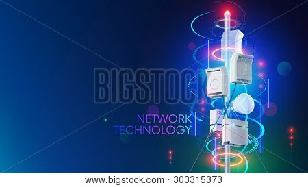 5g Cell Network Communication Tower Or Antenna Transmits Wireless Signal On Mobile Devices. Cellular