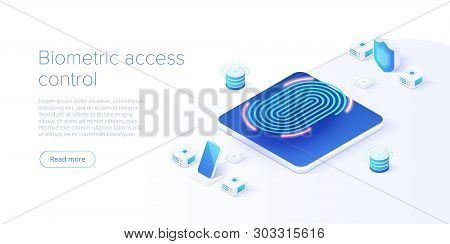 Biometric Access Control In Isometric Vector Illustration. Fingerprint Screening Security System Con