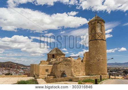 Lorca, Spain - May 09, 2019: Historic San Juan Church On Top Of The Hill In Lorca, Spain