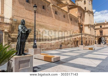 Lorca, Spain - May 09, 2019: Statue At The Plaza Espana In Lorca, Spain