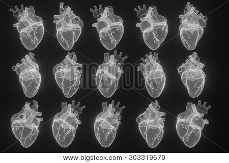 3D Wireframe Hearts Render Isolated White Backgrounds, Abstract Heart Icon Form Lines And Triangles,