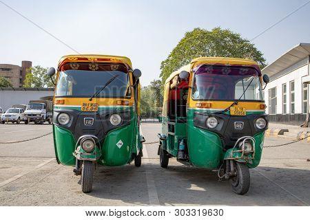 New Delhi, India -  April 2019 : Classic Auto Rickshaw (india Tuk Tuk) With Three Wheeler Is Local T