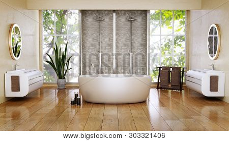 3d Illustration Of Modern Bathroom With Big Oval Bath And Double Shower. Natural Light From Big Wind