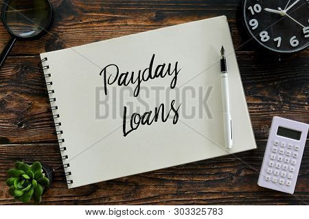 Top View Of Magnifying Glass,plant,calculator,pen,clock And Notebook Written With Payday Loans.