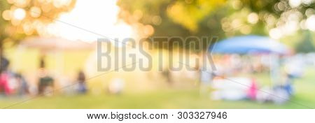 Panoramic View Blurry Background Resident Enjoy Bbq And Camping At Local Park In Usa