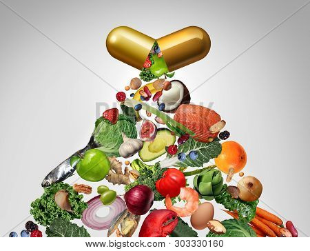Food Supplement Vitamin Dietary Pill As A Nutrient Capsule With Fruit Vegetables Nuts And Beans Insi