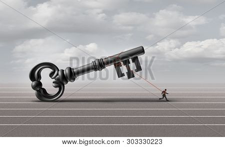 Business Success Key And Businessman Solving A Problem Finding A Solution To Unlock A Lock With 3d I