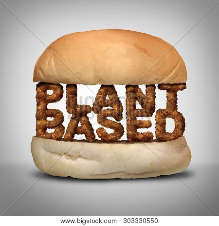 Plant Based Burger As Fake Meat Or Vegan Hamburger Representing A Vegetarian Protien In A 3d Illustr