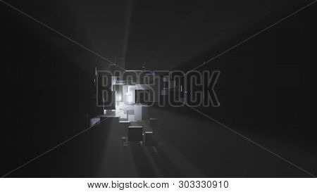 Abstract Background Of Boxes, Light Rays And Fog. 3d Illustration