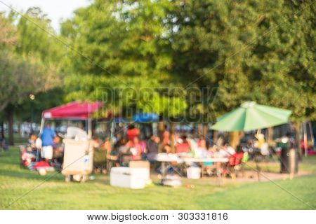 Blurry Background Resident Enjoy Bbq And Camping At Local Park In Houston, America