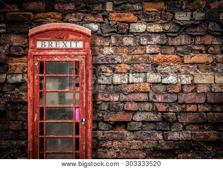 Image Representing Broken Brexit Britain Of An Old Peeling Red Telephone Box Against A Grungy Red Br