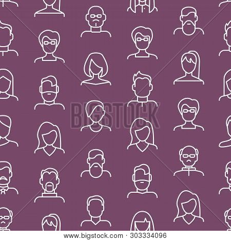 Face Various Types Signs Thin Line Seamless Pattern Background. Vector