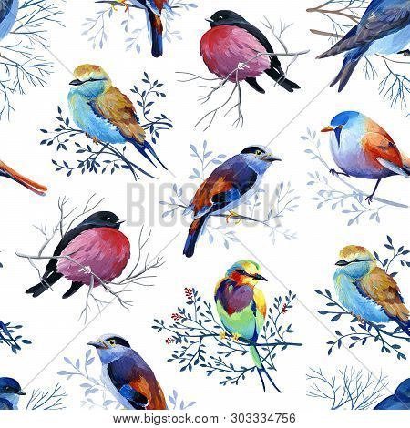 Gouahe Seamless Pattern With Bright Birds On Branches For Art Work And Wedding Design