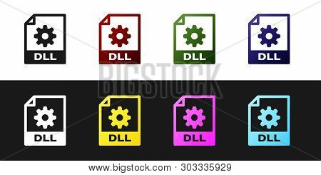 Set Dll File Document Icon. Download Dll Button Icon Isolated On Black And White Background. Dll Fil