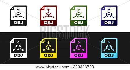 Set Obj File Document Icon. Download Obj Button Icon Isolated On Black And White Background. Obj Fil