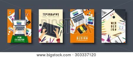 Graphic And Web Design. Flat Style Covers Set. Designer Workplace With Tools. User Interface Design.